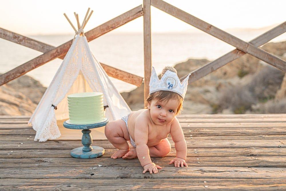 Fotos de bebe con tarta en palma
